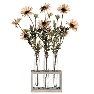 Vickerman AZF11022 Daisy Tubes with Acrylic Water Artificial Plant, Yellow, 17-Inch [並行輸入品]