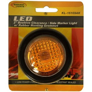 AutoSmart KL-15103AK Amber 2' Round LED Clearance/Side Marker Light Kit with Light and Grommet ...