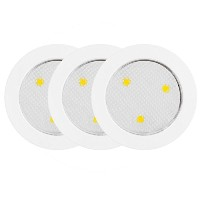 Globe Electric 25787 2 Watt LED Puck Light Kit, White Finish, 3 Pack [並行輸入品]