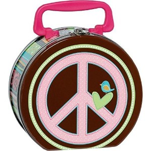 Amscan Hippie Chick Birthday Party Metal Box Favor (1 Piece), 6 1/4' x 5 3/4' x 3', Pink [並行輸入品]