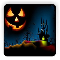 Rikki Knight Halloween Haunted House on Blue with Evil Jack Design Square Fridge Magnet [並行輸入品]