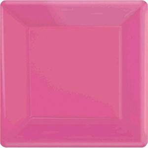 Amscan Party Ready Disposable Square Dinner Plates (20 Piece), Bright Pink, 10.3 x 10.3' [並行輸入品]
