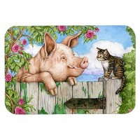 Caroline's Treasures CDCO0349LCB 'Pig at the Gate with the Cat' Glass Cutting Board, Large,...