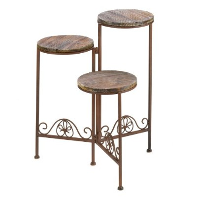 Gifts and Decor Rustic Finish Triple Planter Table Set by Gifts & Decor