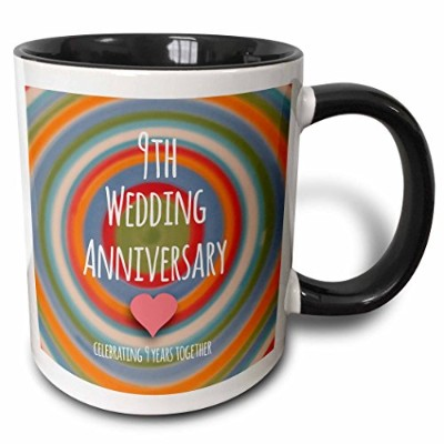 (330ml Two-Tone Black Mug) - 3dRose mug_154440_4 9th Wedding Anniversary gift Pottery celebrating 9...