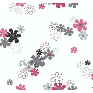 York Wallcoverings YK0152SMP York Kids IV Flower Power 8-Inch x 10-Inch Memo Sample Wallpaper, Pink...
