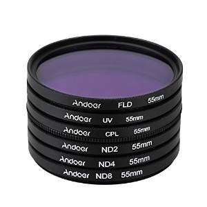 Andoer 55mm UV + CPL + FLD + ND(ND2 ND4 ND8)フィルターキットセット 紫外線・円偏光・蛍光・減光フィルター Nikon Canon Sony...