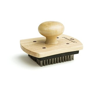 Pizzacraft 4' x 5' Hardwood Handled Pizza Stone Scrubber Brush with Stainless Steel Bristles -...