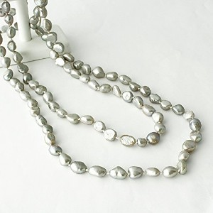 One&Only Jewellery 120cm パール 真珠 ロングネックレス フォーマル 2WAY 6月誕生石 (ライトグレー)