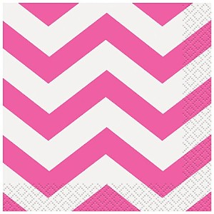 "Beverage Napkins 5""X5"" 16/Pkg-Hot Pink Chevron (並行輸入品)"