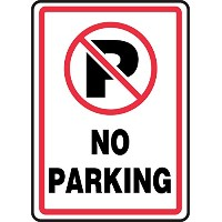 Accuform Signs MVHR402VS Adhesive Vinyl Safety Sign, Legend 'NO PARKING' with Graphic, 14' Length x...