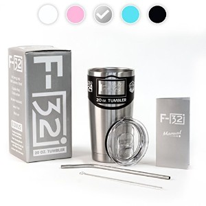 NEW F-32 20oz Tumbler - Seafoam Blue Pink Black White Color available - Premium Bundle : Splash Proof Lid + 18/8 Stainless Steel Straw and Cleaning Brush + F-32 - Stainless Steel by F-32 Cups