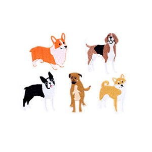 "KIKKERLAND Iron-On Paches set of 5 ""Dog large"" アイロンオンパッチ ドッグラージ PADG"