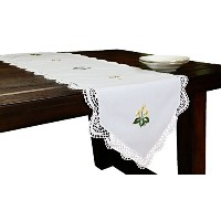 High Quality Handmade Crochet with Embroidery Flowers Spring Table Runner, 15 by 72-Inch