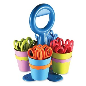 Westcott School Scissor Caddy and Kids Scissors With Anti-microbial Protection, 24 Scissors and 1...