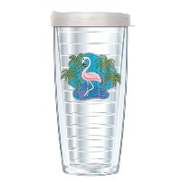 Flamingo Tumbler Cup with Clear Lid 16 Oz