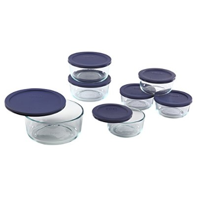 Pyrex 1118988 14-Piece Simply Store with Blue Covers, Clear by Pyrex [並行輸入品]