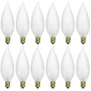 Pack of 1240ワットCFF燭台ベースFrosted Flame Tip Shaped白熱シャンデリア電球