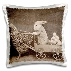 """Floreneビクトリアンイメージ–VictorianフォトRooster Pulling Bunny–枕ケース 16 by 16"""" pc_37253_1"""