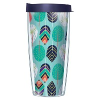 Playful Feathers WrapタンブラーMug with Lid 16 Oz ブルー
