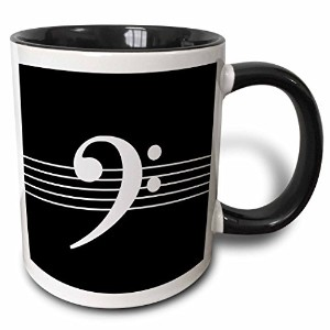 InspirationzStore音楽アートデザイン–ブラックBass Clef f-clef on Musical stavesスタッフ–音楽音楽家ギフト–マグカップ 11 oz...
