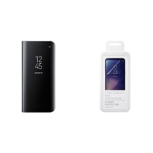 【Galaxy純正 国内正規品セット】Galaxy S8用(5.8インチ) CLEAR VIEW STANDING COVER(ブラック)  + SCREEN PROTECTOR(2枚入)