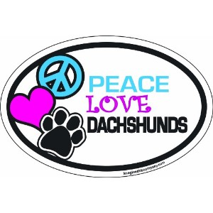 Imagine This 4-Inch by 6-Inch Car Magnet Oval, Peace Love Dachshunds by Imagine This