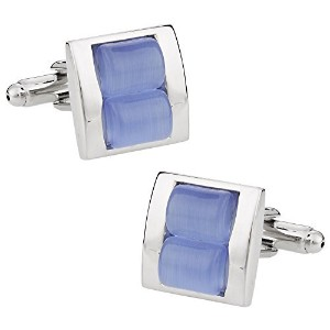 Cuff - Daddy Stacked Two PieceライトブルーFiber Optic Cufflinks withプレゼンテーションボックス