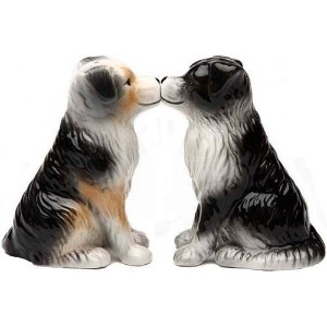 Salt & Pepper Shakers Set - AUSSIE SHEPHERD DOG New Ceramic Gifts 8590