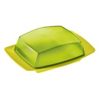 koziol RIO Butter Dish, solid mustard green/transparent olive green by Koziol
