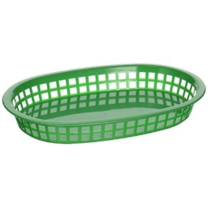Winco Oval Platterバスケット、10.75インチby 7.25-inch by 1.5インチ、グリーン