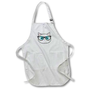 Janna Salak Designs Cats–Cute Hipster Cat with Glasses–エプロン 22 by 30-Inch ホワイト apr_175371_1