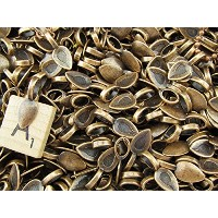 100 CleverDelights Spoon Glue On Bails - 21x8mm - Antique Copper Color - Medium Glue-On Bails -...