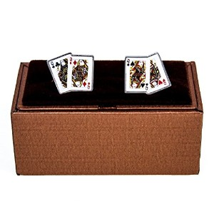 mrcuff Queens 4 4つPlaying Cards PokerのペアCufflinks with aプレゼンテーションギフトボックス