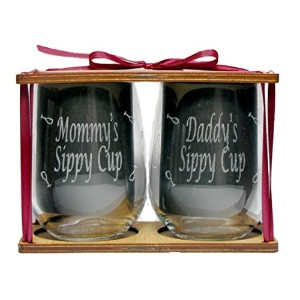 Mommy 's and Daddy 's Sippy Cups Engraved Stemless Wine Glasses