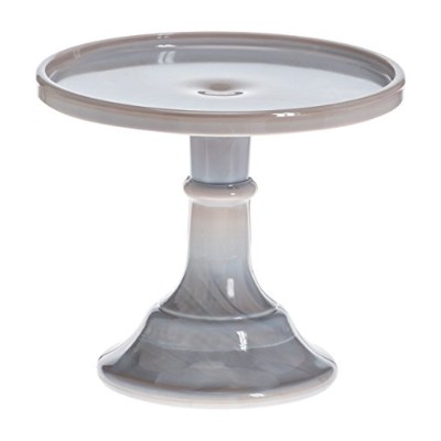 Mosser Glass 15cm Footed Cake Plate Stand - Grey Marble