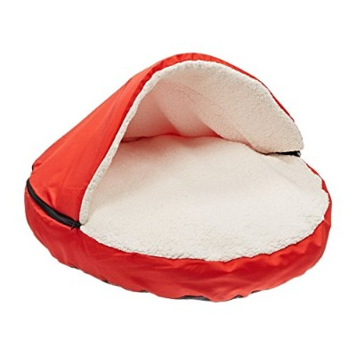Sofantex Plush Pet Bed Cave for Cats and Small to Medium Size Dogs and Cats, Red, 25 by Sofantex