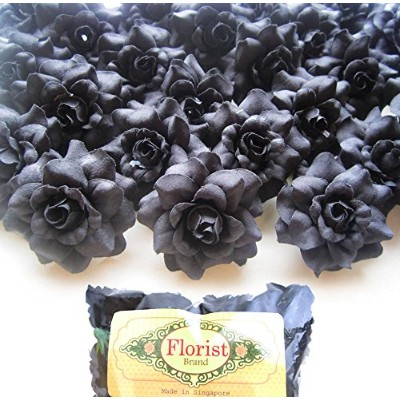 (100) Silk Black Roses Flower Head - 1.75 - Artificial Flowers Heads Fabric Floral Supplies...