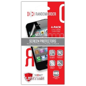 Random Order Premium Combo 2 High Definition Clear and 2 Anti-Glare Lifetime Warranty for iPhone 4...