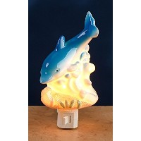 Plug InセラミックDolphins Night Light – Nauticalデザインwith On / Offスイッチをギフトボックスに