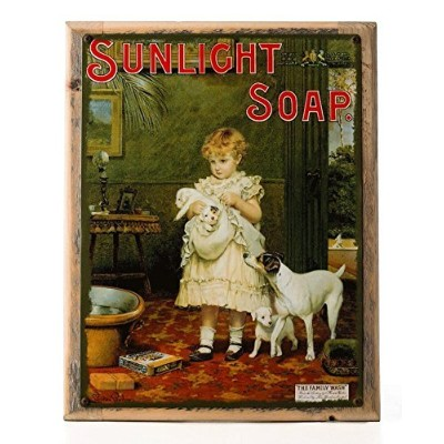 Sunlight Soap Metal Sign Framed on Rustic Wood: Soap, Laundry, and Bathroom Dテδゥcor Wall Accent by...