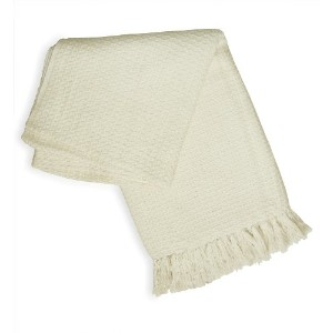 JoviホームCocoon Hand Woven Throw 50-inch-by-60-inch、Ecru (オフホワイト)