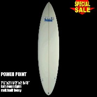 """Power Point パワーポイント サーフボード ファン 7'6"""" フィン付 Funboard (A50329)サーフィン サーフボード Surfboard 未使用アウトレット特価【代引不可】"""