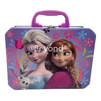 Disney Frozen Princess Elsa Anna & Olaf Deluxe Large Purple Tin Lunch Box by Disney