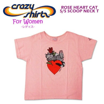 Crazy Shirts(クレイジーシャツ)-Womens- S/S Scoope Neck Tee @Rose Dyed[2008807] ROSE HEART CAT クリバンキャット 半袖...