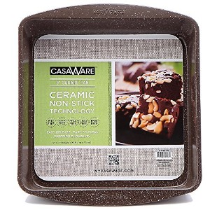 casaWare Ceramic Coated NonStick 9-Inch Square Pan (Brown Granite) by casaWare