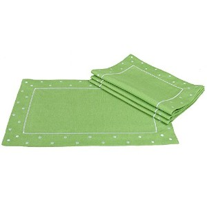 Xia Home Fashions Polka Dot Embroidered Easy Care Placemats, 13 by 19-Inch, Green, Set of 4 [並行輸入品]