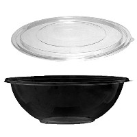 Party Essentials N332017 Soft Plastic 320-Ounce Serving/Catering Bowls, Black with Clear Lids, Set...