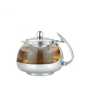 Stainless Steel Glass TEA POT Teapot w. Stainless steel Strainer filter 700ML [並行輸入品]