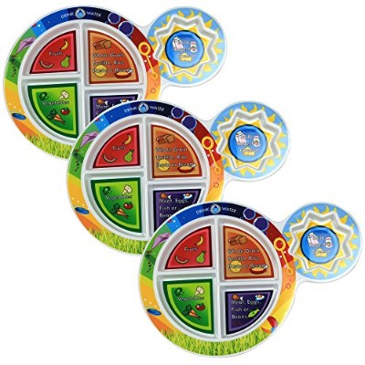 Fresh Baby Kid's 5-Section My Plate (3 Pack), 18cm , Multicolor